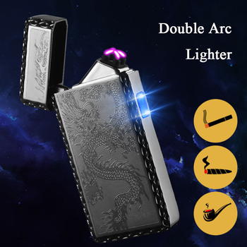 Zinc Alloy Electric Display of Double Arc Charging Lighter Rechargeable Windproof Plasma USB Lighter Smoking Accessories