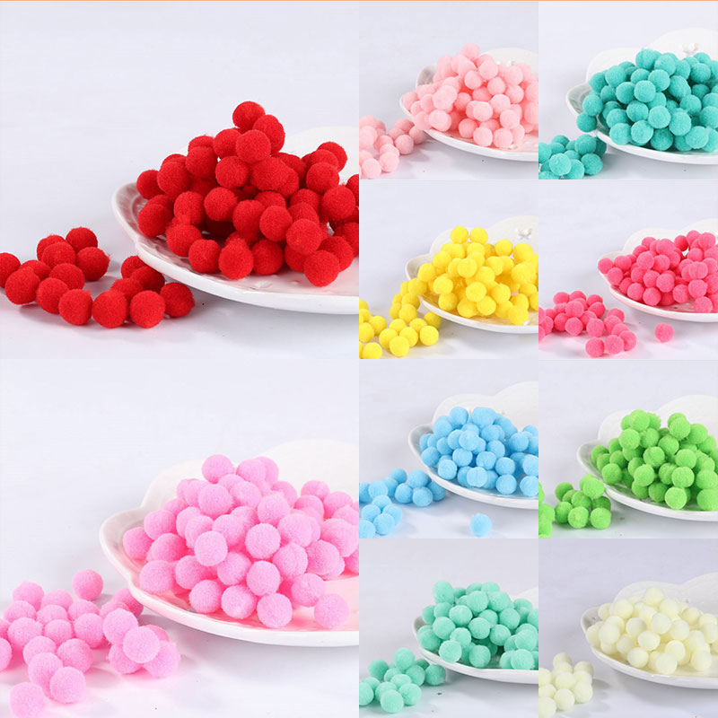 Wholesale 100Pcs 8mm Pompoms Soft Pom Poms Fur Ball Arts Toys Crafts DIY Apparel Sewing Fabric Supplies Wedding Home Decoration