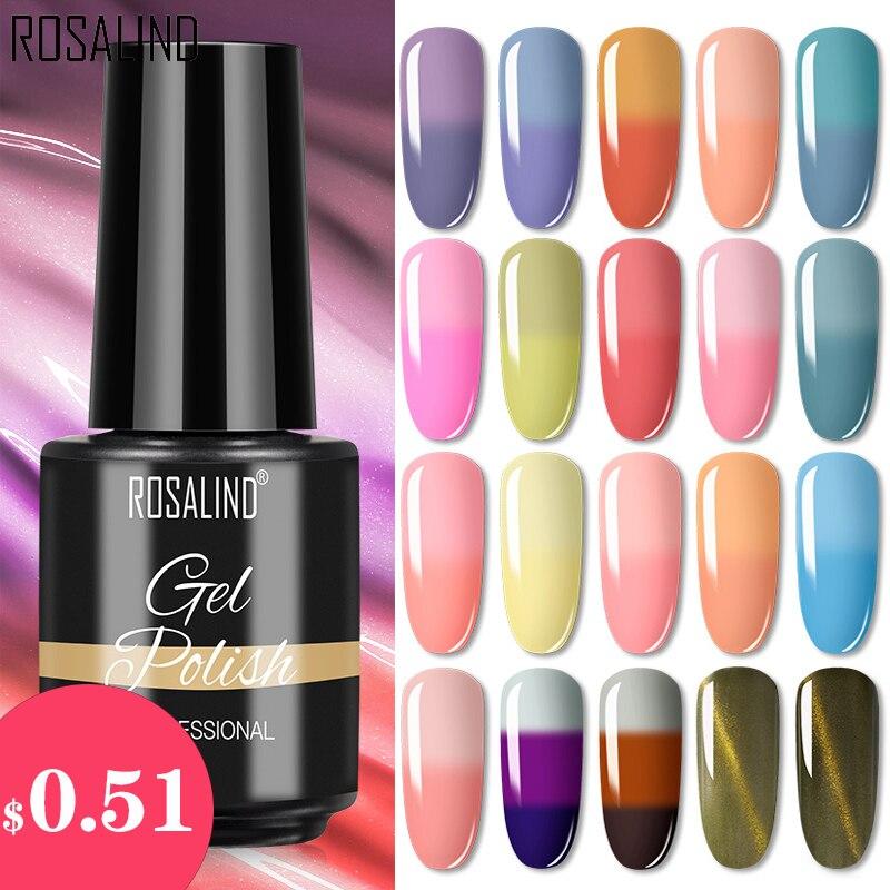 Гель-лак для ногтей ROSALIND, 7 мл, меняющий цвет при температуре, дизайн ногтей, Полупостоянный Гель-лак для ногтей, маникюр
