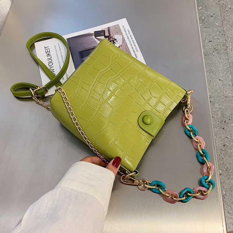 2019 acryl Kette Frauen Eimer Tasche Mode Krokodil Muster Handtasche Geldbörse Weibliche Einfache Schulter Umhängetasche Tote Paket