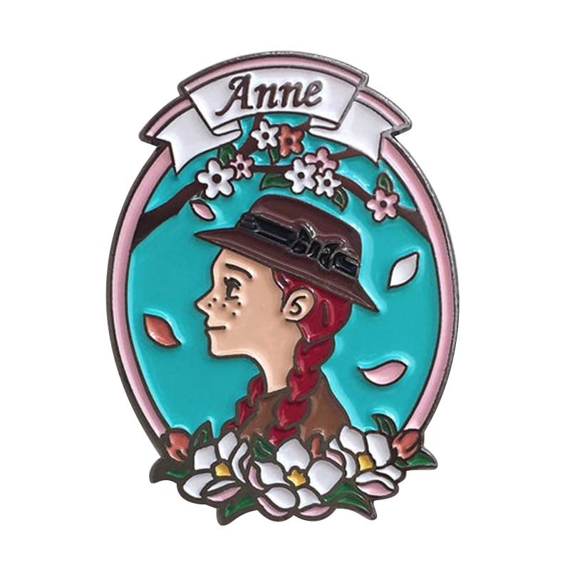 As aventuras de anne shirley esmalte pino um clássico broche romance infantil