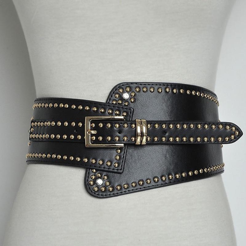 New Women Wide Leather Belt Punk Style Rivet Pin Buckle Belts Designer PU Elastic Band Tassel Girdle Black Decorative WaistB82