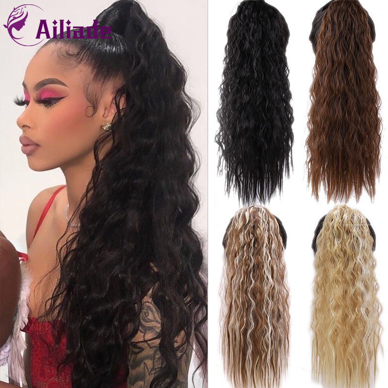 AILIADE 18/22 Inches Long Kinky Curly Synthetic Ponytail Extensions Clip-in Pony Tail Natural Hair Extension Heat Resistant Hair