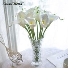 CHENCHENG 10 ชิ้น/ล็อต PU ดอกไม้ Calla Lily Bunch Fake Bouquet ดอกไม้ตารางตกแต่งบ้านฤดูใบไม้ร่วง