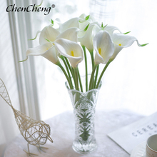 CHENCHENG 10 unids/lote de flores artificiales de PU, ramo de lirios de Cala, ramo de flores falsas, ramo de flores, mesa, decoración de la boda del hogar, decoración de otoño