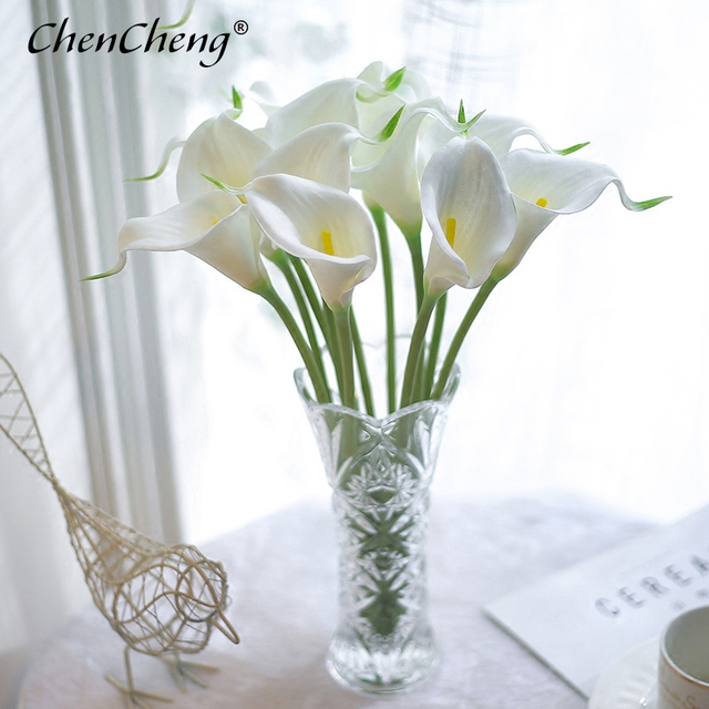 CHENCHENG 10 Pieces / Lot PU Artificial Flowers Calla Lily Bunch Fake Flower Bouquet Table Home Wedding Decoration Fall Decor