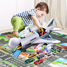 Car Toys Set Airplane Large Play Mat Mini Educational Vehicle Car Airline Model Aircraft Toys for Kids Boys Children Birthday