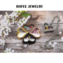 Fashion Heart Magnetic Glass Floating Locket Memory Necklaces & Pendants Charms Berloque Jewelry Accessories