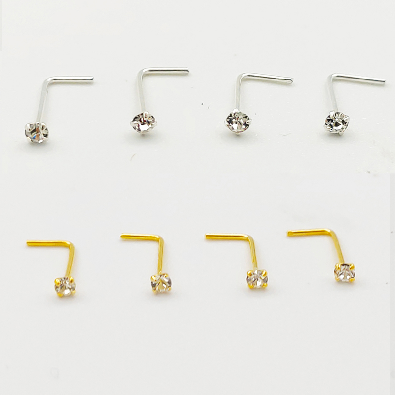 20PCS/Box  Sterling  L Shape Nose Stud Ring 2mm Clear Crystal Nose Piercing Body Jewelry