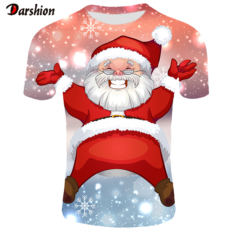3D T Shirt Christmas Men Printed Santa Claus Summer Tshirt Short Sleeve Round Neck Male Casual Tops Streetwear Xmas T-shirt Men