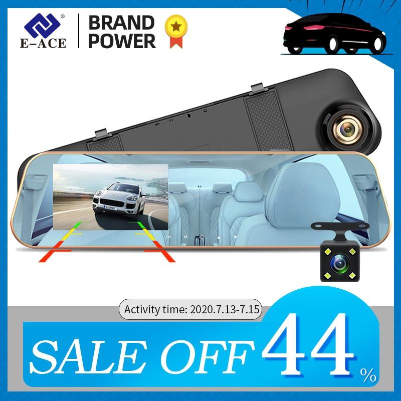 Автомобильный видеорегистратор с двумя объективами E ACE A10, Full HD 1080P, 4,3 дюйма, цифровое зеркало заднего вида