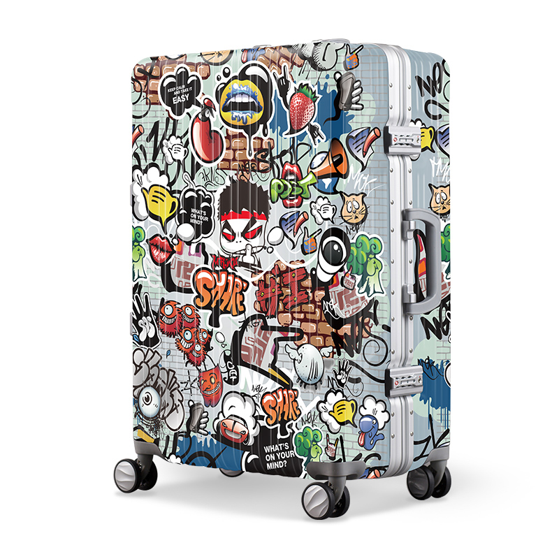 Play Trend Graffiti Suitcase Trolley Universal Wheel Personalized Password Box 20/24 Inch Boarding Suitcase   - title=