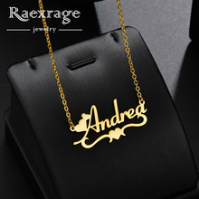 Raexrage Personalized Heart Name Necklace Stainless Steel Double Link Chain Necklace Statement Choker for Girls Femme(China)
