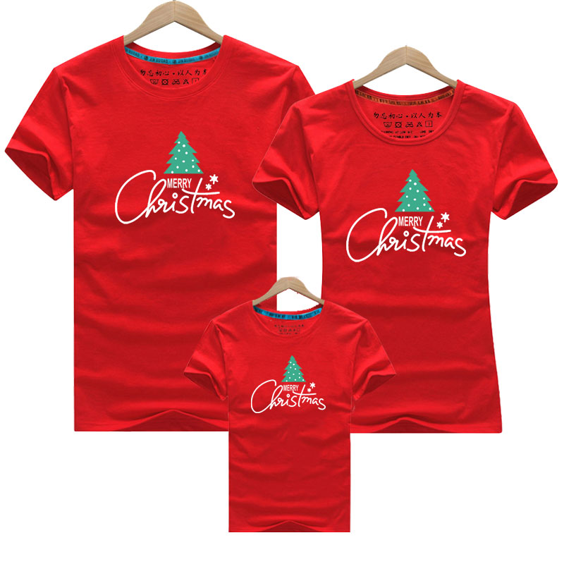 Christmas Tree Family Matching Outfits Family Look T Shirt Mother Daughter T Shirts Dad Mom Baby Family Suit Father Son Clothes