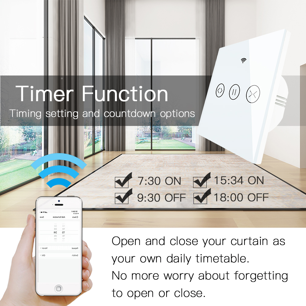 RF WiFi Smart Touch Curtain Blinds Roller Shutter Switch Tuya Smart Life App Remote Control,Work with Alexa Echo Google Home 2