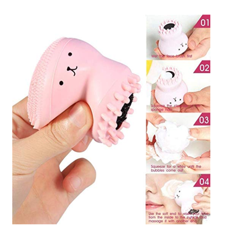 2019 Cleaning Face Tools Brush Pink Cute Facial Cleansing Animal Octopus brush Exfoliator Cute Silica Gel Massage Deep Skin Care