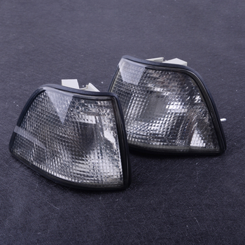 beler 1 Pair Corner Smoke Turn Signal Lights Lens Case Fit For BMW E36 3-Series 2DR Coupe Convertible 318is 323i 325i 325is 328i image