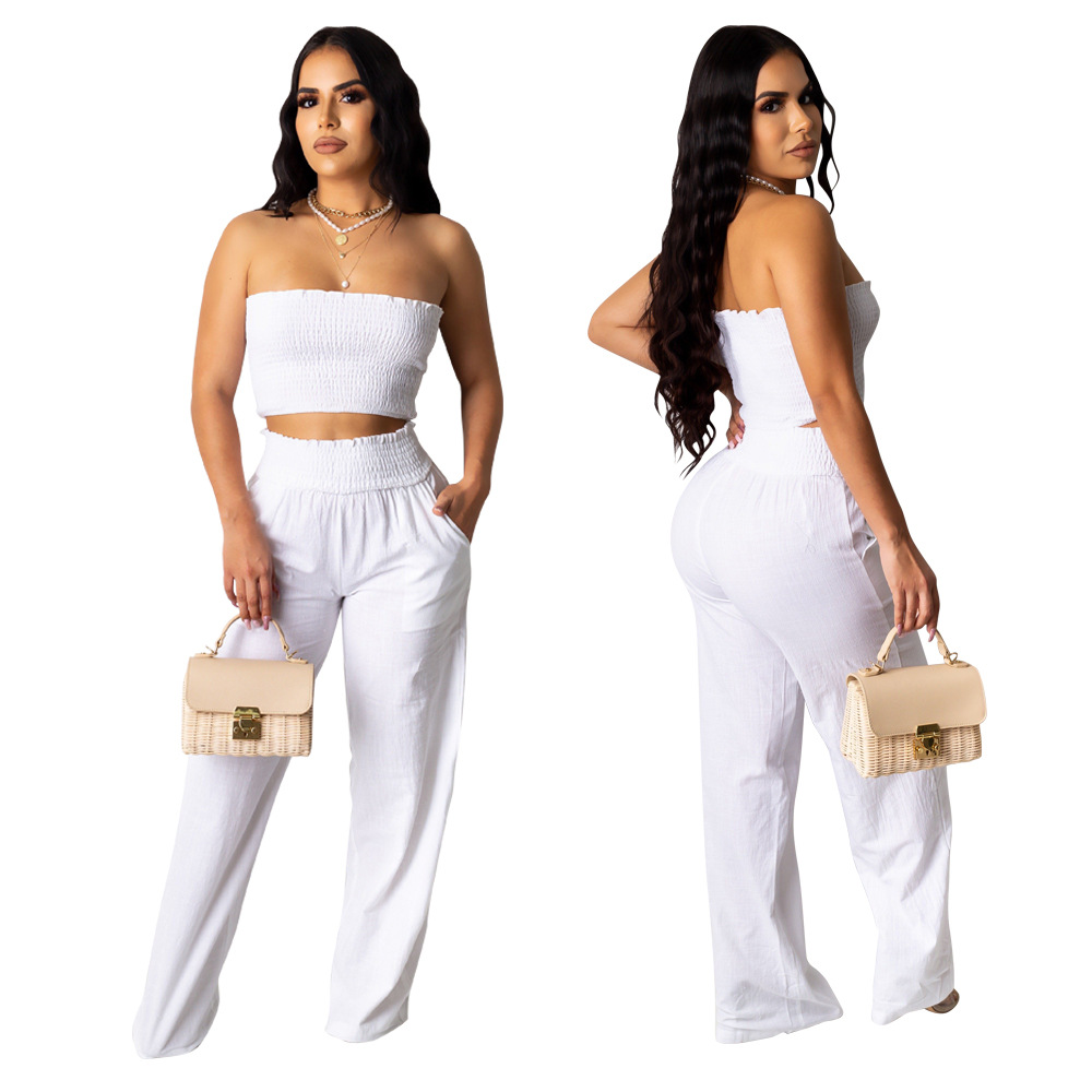 White Casual Women 2 Pieces Set Sleeveless Strapless Crop Top And Wide Leg Pants Sexy Women Outfits 2020 Summer Sexy Streetwear
