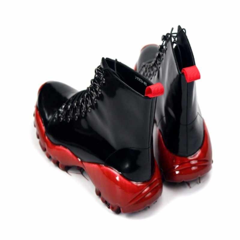 Marca Lace Up Della Piattaforma Stivali Degli Uomini di Strada Del Progettista Rosso Casual Della Caviglia Scarpe di Lusso Del Cuoio Genuino di Alta-Top Scarpe da Ginnastica Più Il formato 45