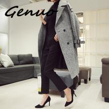 Korean Houndstooth Long Wool Coat Elegant Women Double-breasted Lapel Collar Sashes Pocket Plaid Loose Thick Woolen Outerwear plaid loose fitting pocket design coat