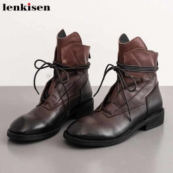 Lenkisen big size genuine leather vintage western boots lace up round toe med heels winter keep warm leisure ankle boots L2f5