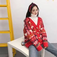 2019 spring new Christmas big red cardigan sweater women's jacket in the long section thick Korean version of the loose sweater(China)