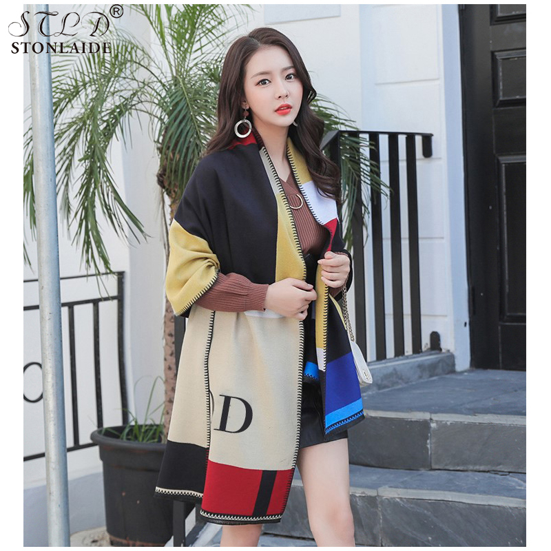 New Design Shawl Winter Cashmere Scarf For Ladies Thick Big Shawls Tassel Air-conditioned Rooms Warm Cashnere Coponcho Scarves