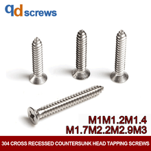 304 M1M1.2M1.4M1.7M2.2M3 Cross recessed countersunk head tapping screws self-tapping Phillip flat screw GB846 DIN7982 ISO 7050