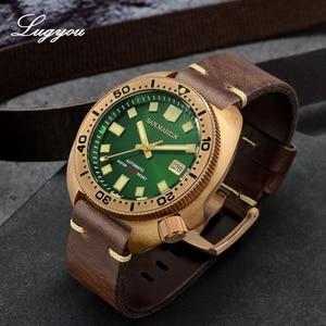 Image 2 - Lugyou San Martin Turtle Diver Men Watch Bronze CuSn8 Automatic NH35 Rotating Bezel 20Bar Sapphire Crystal Leather Strap C3 Lum