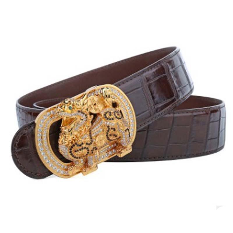 LINSHE true  crocodile  The belt  men  fashion  joker  Smooth buckle  The belt  The mythical wild animal buckle  Head men belt