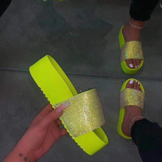 Women Bling High Heel Pumps Wedding Shoes Wedges Slides Platform Slipper Peep Toe Party Sandals Zapatos De Mujer