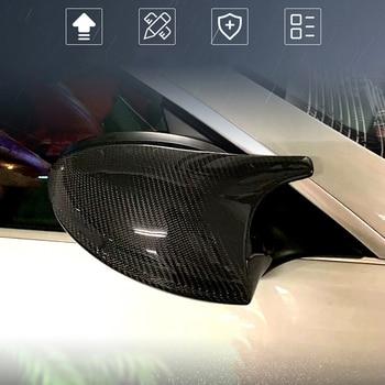 A Pair Car Carbon Fiber Rear Mirror Cover For BMW 3 Series E90 E91 05-07 E92 E93 06- 09 Door Side Replacement Cap E81 E87 E88 for bmw m1 e82 m3 e90 e92 e93 2008 2013 add on style carbon fiber body side rear view mirror cover