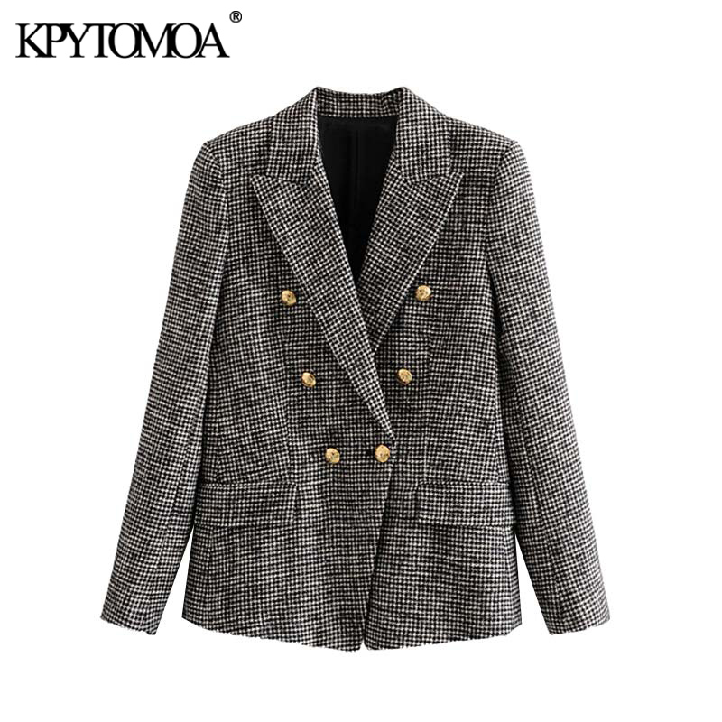 Vintage Stylish Double Breasted Houndstooth Tweed Blazer Coat Women 2019 Fashion Long Sleeve Office Wear Female Outerwear Tops