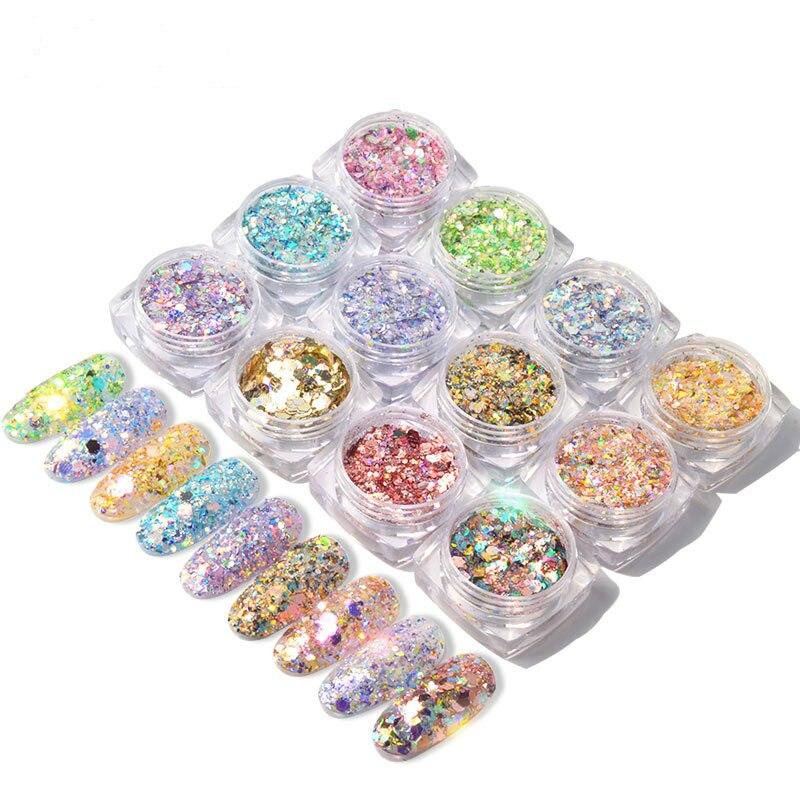 12 Color Holographic Glitter Nail Glitter Powder Sequins Mixed Color Nail Art Acrylic Powder DIY Nail Art Decoration Accessories