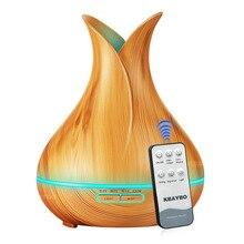550ml בצבע עץ שלט רחוק קולי אוויר מכשיר אדים ארומתרפיה חיוני שמן מפזר עם 7 צבעים אור