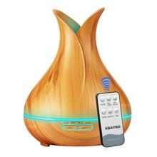 Humidificador de aire con control remoto ultrasónico de grano de madera de 550 ml, difusor de aceite esencial de aromaterapia con luz de 7 colores
