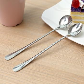Korean creative stainless steel long handle coffee spoon stirring simple spoon creative ice spoon sharp round