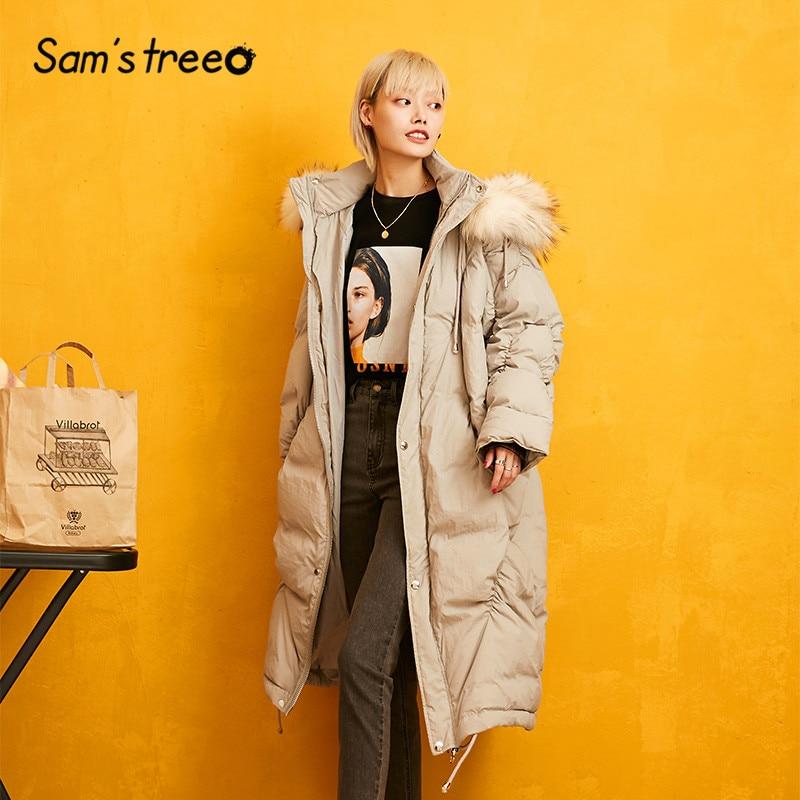SAM'S TREE Gray Pure Drawstring Straight Warmness Down Coat Women 2019 Winter Zipper Fur Oversived Office Ladies Parka Outwears