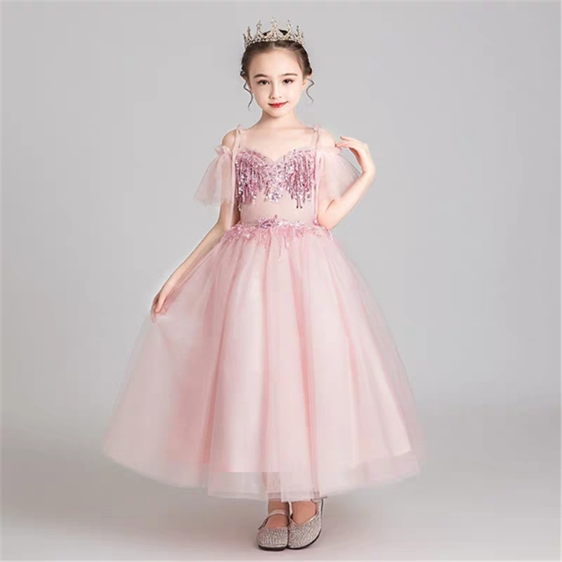 2019 Summer Luxury New Children 3~14Ys Shoulderless sling Collar Birthday Wedding Party Dress Kids Girl Host Communication Dress