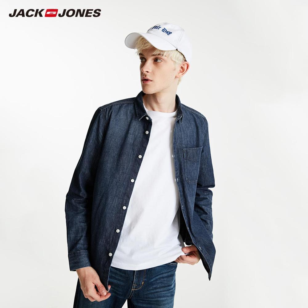 JackJones Men's 100% Cotton Long-sleeved Denim Shirt Basic Menswear| 219105543