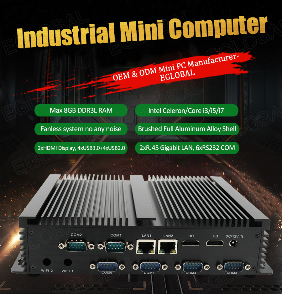 Cheap Industrial Mini Computer Intel Core I3 5005U Celeron 2955U 24 Hours Working Linux Mini PC 6 COM Dual Lan Dual HDMI HTPC