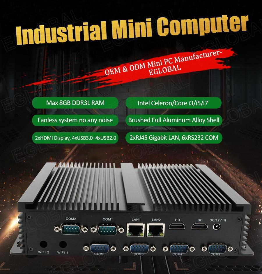 Cheap Industrial Mini Computer Intel Core I3 5005U Celeron 2955U 24 Hours Working Linux Mini PC 6 COM Dual Lan Dual HDMI HTPC