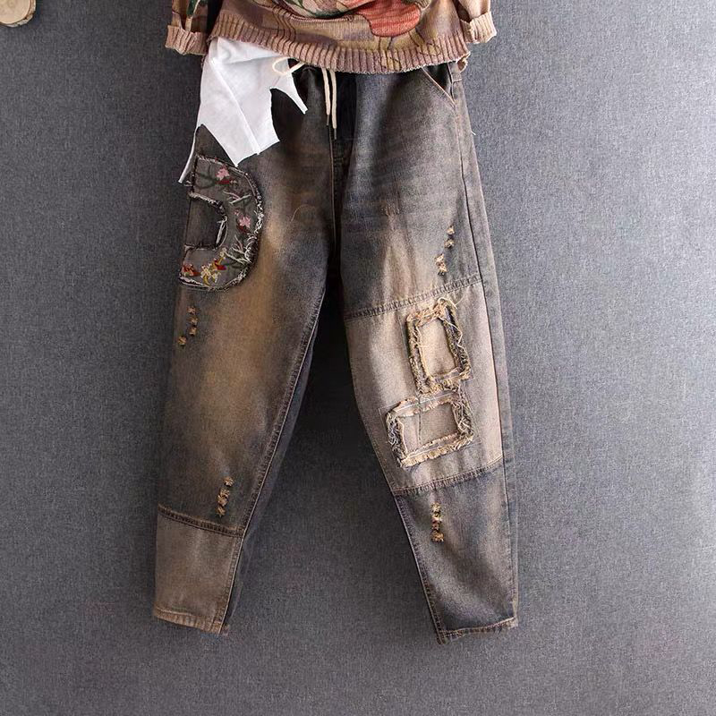 New Spring Autumn Women Elastic Waist Cotton Denim Harem Pants Embroidery Vintage Ripped Jeans Plus Size Loose Denim Jeans D539