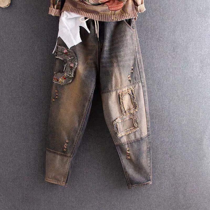 New Spring Autumn Women Elastic Waist Cotton Denim Harem Pants Embroidery Vintage Ripped Jeans Plus Size Loose Denim Jeans D539