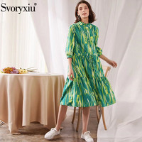 Svoryxiu 2020 Fashion Runway Summer Cotton Loose Dress Women's 3/4 Sleeve Hand Painted Print Casual Party Mid Calf Dresses