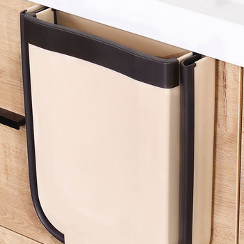 Foldable Kitchen Hanging Trash Can Folding Waste Bin Wall Mounted Trashcan for Bathroom Toilet Storage Portable