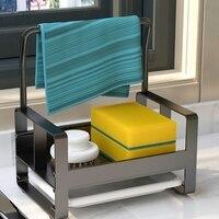 Soporte de esponja grande para fregadero de cocina, estante de almacenamiento con bandeja de drenaje, organizador de cepillo de limpieza y jabón, nuevo de 2021