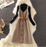 Spring Winter Elegant Women Strap Midi Dress Long Sleeve Slim Casual Dress Overalls A Line Sashes Stripe Fashion Dress