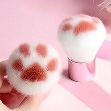 Pinceau de maquillage Portable en aluminium à poignée courte, 1 pièce, patte de chat rose, poudre libre, Blush, Fiber de laine douce, outil de maquillage pour le visage