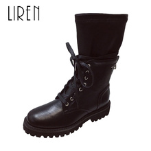 Liren 2019 Winter New Fashion Sexy Women Boots Microfiber Round Toe Square Med Heels Comfortable Casual Warm